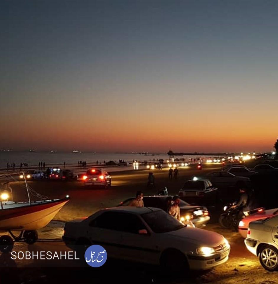 ترافیک و تعداد زیادی خودرو در ساحل سورو، 30 آبان 99